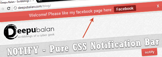 Notify: Pure CSS notification bar using :target pseudo class