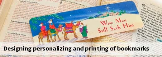 Bookmark printing designing and personalizing