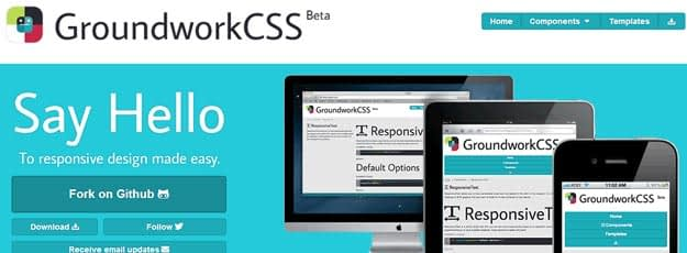 GroundworkCSS is an open-source, responsive front-end framework packed with HTML5, CSS